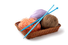 Balls Of A Yarn Knitting Spokes Royalty Free Stock Images