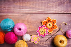 Balls Of Colored Yarn Stock Images