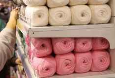 Balls Of Wool For Sale On The Shelf Stock Photo