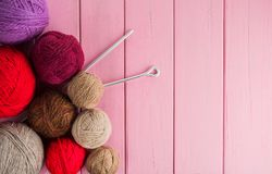 Free Balls Of Yarn In Different Colors With Knitting Needles Royalty Free Stock Photo - 163762625