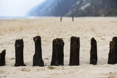 Balls on the old pier protruding on the beach by the Baltic Sea.  royalty free stock images
