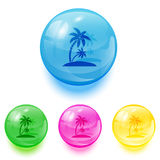 Balls with palms icons Stock Photos