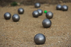 Balls for petanque. The game of Petanque. Royalty Free Stock Photos