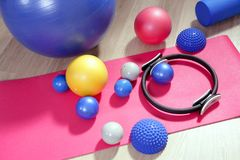 Balls pilates toning stability ring roller Royalty Free Stock Image