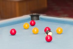 Balls on a pool table royalty free stock photography
