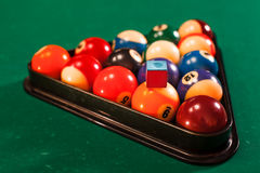 Balls in a pool triangle. Royalty Free Stock Photography
