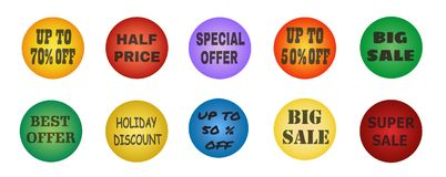Balls with promotional offers, seasonal and holiday sale. Suitable for discount cards, advertisement leaflet, coupon, flyer, vouchers, sale sticker. Vector Stock Photos