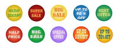 Balls with promotional offers, seasonal and holiday sale. Suitable for discount cards, advertisement leaflet, coupon, flyer, vouchers, sale sticker. Vector Royalty Free Stock Photo
