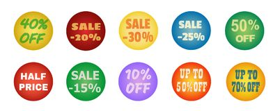 Balls with promotional offers, seasonal sale. Suitable for discount cards, advertisement leaflet, coupon, flyer, vouchers, sale sticker. Vector illustration Stock Photos