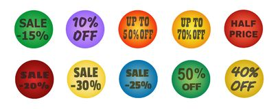 Balls with promotional offers, seasonal sale. Suitable for discount cards, advertisement leaflet, coupon, flyer, vouchers, sale sticker. Vector illustration Stock Photography