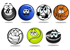 Balls and puck mascots cartoon characters Royalty Free Stock Photos