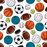 Balls and pucks for team games seamless pattern Royalty Free Stock Photography