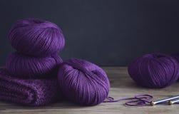 Purple yarn, close up royalty free stock photo