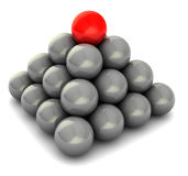 Balls pyramid. Abstract 3d illustration of balls pyramid with red at top Royalty Free Stock Photo