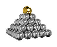 Balls Pyramid. 3d pyramid of shiny silver balls with gold ball on top Stock Images