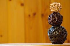 Balls. Pyramid with three bambo balls Royalty Free Stock Photos