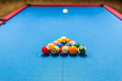Balls racked on pool table. Balls racked on a pool table waiting for break Stock Photography