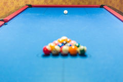 Balls racked on pool table. Balls racked on a pool table waiting for break Royalty Free Stock Photography