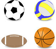 Balls rugby football basketball soccer volleyball Stock Photo