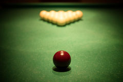 Balls for russian billiards. On green table ready for game, vignette stock photography