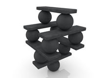 Balls and seesaw assembled in pyramid Royalty Free Stock Image