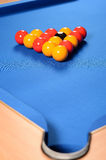 Balls set up on pool table Stock Photography