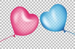 Balls in shape of a heart aspire to each other. Colorful air balloons, realistic blue and red with highlights. Transparent effects on plaid background. Vector stock illustration