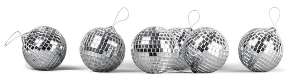 Silver disco mirror balls isolated on white. Balls silver mirror disco sphere nightlife white royalty free stock photo