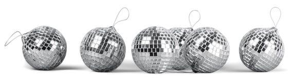 Silver disco mirror balls isolated on white royalty free stock photo