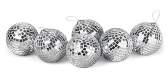 Silver disco mirror balls isolated on white. Balls silver mirror disco sphere nightlife white stock images