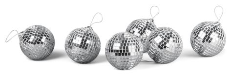Silver disco mirror balls isolated on white. Balls silver mirror disco sphere nightlife white stock photography