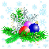 Balls with snowflake Royalty Free Stock Photo