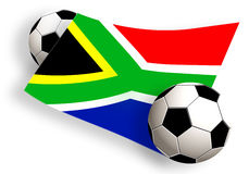 Balls & south africa flag. South africa flag between two football balls isolated on white royalty free illustration