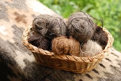 Balls of spinned goat hair Stock Photo