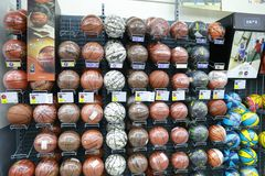 Soccer balls in store. Nobody, purchase. Balls in a sporting goods store zone of Decathlon store from shanghai, china Stock Photo