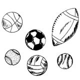 Balls for sports games, set Royalty Free Stock Images