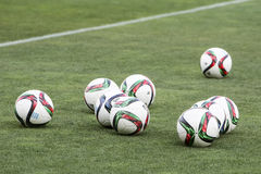 Balls stacked during the training prior to the Greek Superleague Stock Images