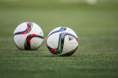 Balls stacked during the training prior to the Greek Superleague Royalty Free Stock Images