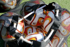 Balls stacked during the training prior to the Greek Superleague Stock Image