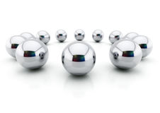 Balls of steel. 3d image of a shiny steel marbles.(Concept of competition Stock Image