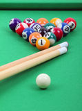 Balls and sticks on green billiards table royalty free stock photo