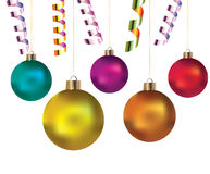 Balls and streamers for holiday Royalty Free Stock Photo