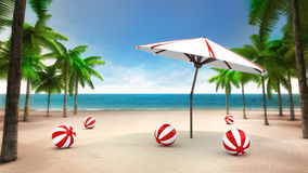 Balls and sunshade on the sandy tropical beach Stock Photos