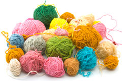 Balls of threads. Set of threads for knitting of various colours stock photo