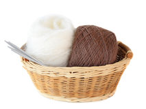 Balls of threads in a basket Stock Photography