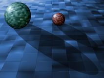 Balls on tiles. Tile made spheres over tiles floor abstract background royalty free illustration