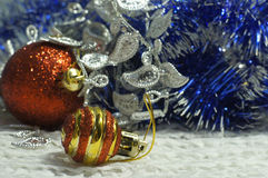 Balls and tinsel for decorating a Christmas tree Stock Photography