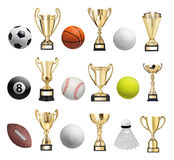 Balls and trophies Stock Image