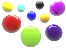 Balls in various colors.3d illustration. Royalty Free Stock Photography