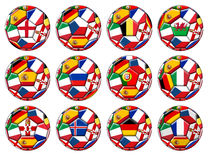 Balls with various flags Royalty Free Stock Image